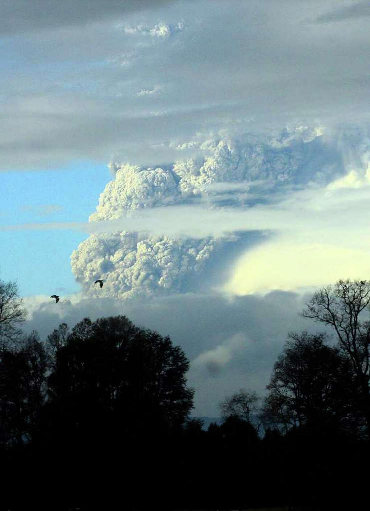 A column of smoke and ashes spews out from the Puyehue volcano, some 1,100 kilometers south of Santiago, Chile, Saturday, June 4, 2011. Authorities have evacuated about 600 people living near the volcano. There have been no reports of injuries.