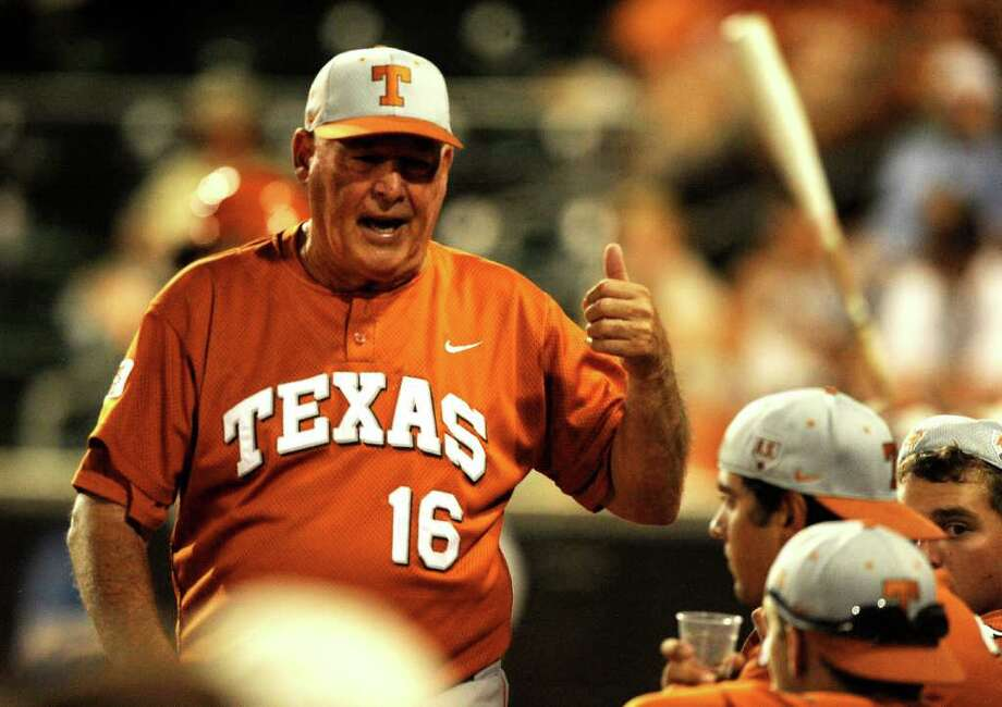 Texas head coach Augie Garrido encourages his team during NCAA Baseball Austin Regional action against Kent State on Saturday, June 4, 2011. BILLY CALZADA / gcalzada@express-news.net Photo: BILLY CALZADA, Express-News / gcalzada@express-news.net