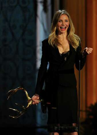 "CULVER CITY, CA - JUNE 04:  Actress Cameron Diaz presents the Funniest M.F. award onstage during Spike TV's 5th annual 2011 ""Guys Choice"" Awards at Sony Pictures Studios on June 4, 2011 in Culver City, California. Photo: Kevin Winter, Getty Images / 2011 Getty Images"