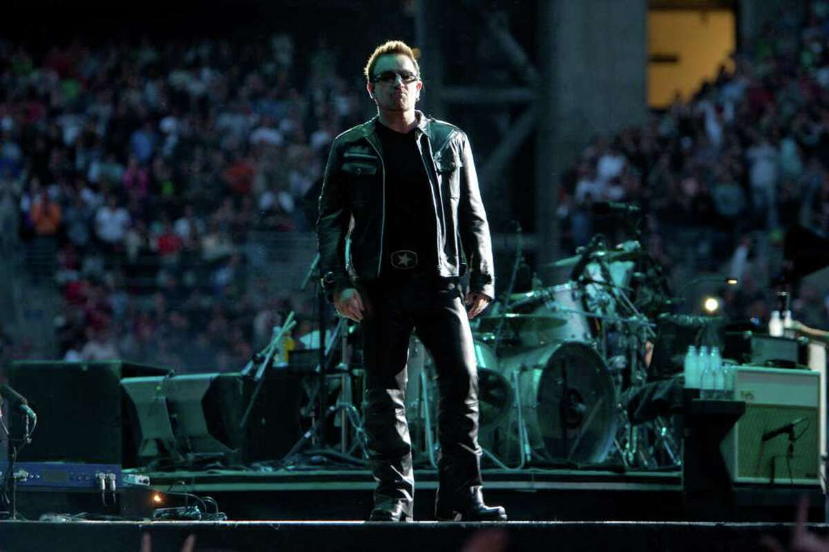 Frontman Bono, of Irish rock band U2, performs during the band's 360º Tour at Qwest Field in Seattle.