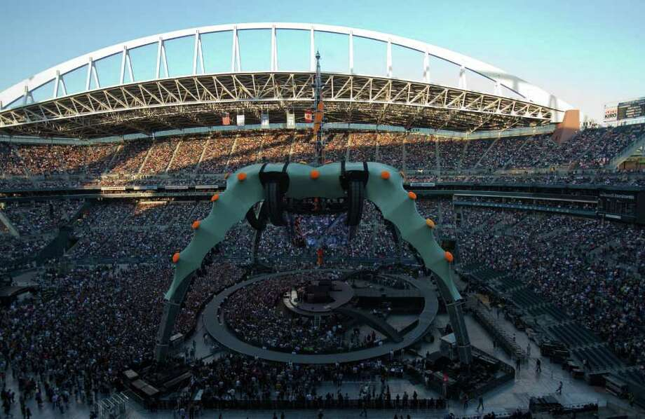 U2's massive touring stage, known as the 'claw' is shown at Qwest Field. It is the largest touring stage ever constructed for a concert tour. Photo: JOSHUA TRUJILLO / SEATTLEPI.COM