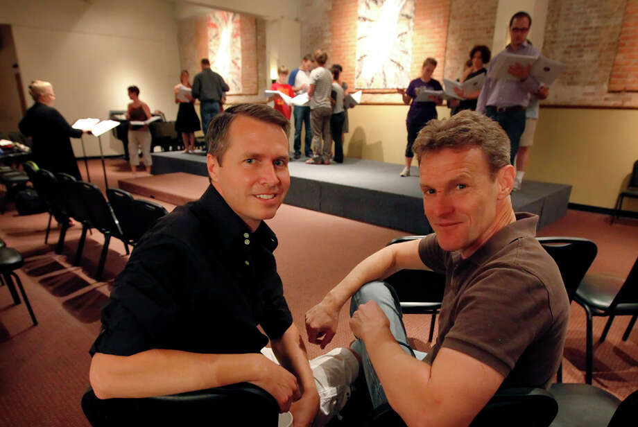"San Antonians Kevin Parman (left) and Thomas Nyman wrote the musical ""Roads Courageous,"" a play about the exploits of a Del Rio doctor who implanted goat glands into patients. KIN MAN HUI / EXPRESS-NEWS / San Antonio Express-News"