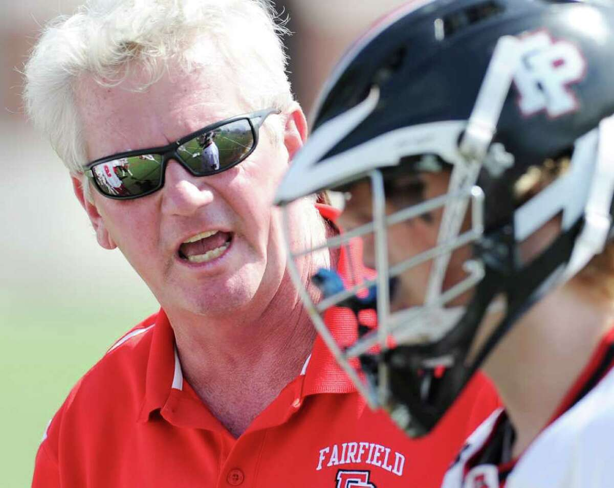 Fairfield Prep coach Christopher Smalkais during the Class L boys lacrosse quarterfinal between Fairfield Prep and Greenwich High School at Fairfield University, Saturday afternoon, June 4, 2011.