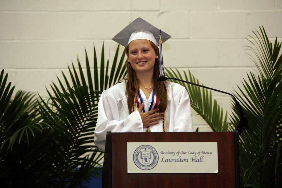 Rebecca Napolitano gives the Salutatory Remarks during Lauralton Hall's graduation on Sunday, June 5, 2011.