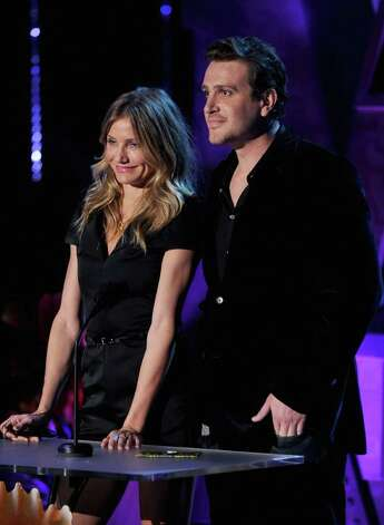 UNIVERSAL CITY, CA - JUNE 05:  Actors Cameron Diaz (L) and Jason Segel speak onstage during the 2011 MTV Movie Awards at Universal Studios' Gibson Amphitheatre on June 5, 2011 in Universal City, California. Photo: Kevin Winter, Getty Images / 2011 Getty Images