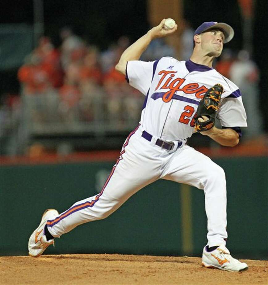 Clemson's Scott Firth throws a pitch during an NCAA college baseball tournament game against Sacred Heart at Doug Kingsmore Stadium, Friday, June 3, 2011, in Clemson, S.C. (AP Photo/Anderson Independent-Mail, Mark Crammer) Photo: AP