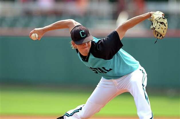 Coastal Carolina's Aaron Burke delivers a pitch during an NCAA college baseball regional tournament game against Connecticut at Doug Kingsmore Stadium Sunday, June 5, 2011, in Clemson, S.C. (AP Photo/ Richard Shiro) Photo: AP