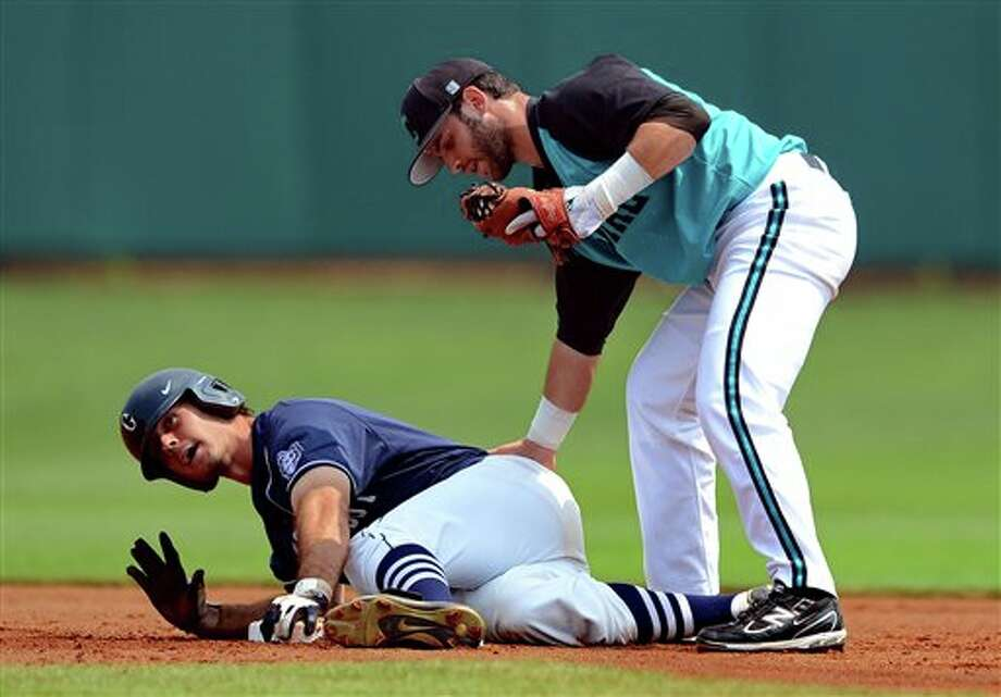 Connecticut's Billy Ferriter, left, is tagged out by Coastal Carolina second baseman Tommy La Stella during an NCAA college baseball regional tournament game  at Doug Kingsmore Stadium Sunday, June 5, 2011, in Clemson, S.C. (AP Photo/ Richard Shiro) Photo: AP