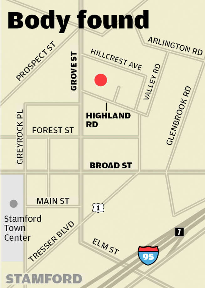 Map of where a body was found on Highland Road in Stamford. It was tentatively identified as Eryk Kogut, 20. Photo: Tim Guzda / Stamford Advocate staff graphic