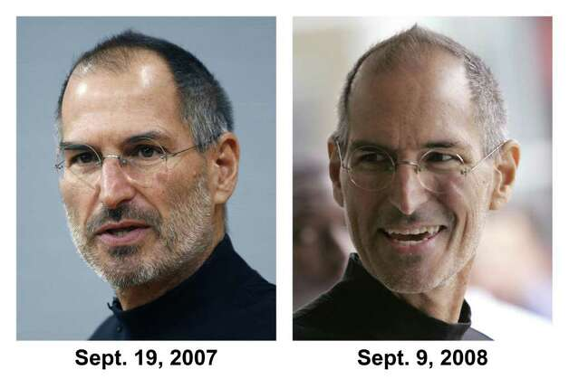 In this photo combo, Apple Inc. founder and Chief Executive Steve Jobs is seen on Sept. 17, 2007 in Berlin, Germany, left, and on Sept. 9, 2008 in San Francisco, right. Jobs, looking to end health rumors, on Monday, Jan. 5, 2009 said that a hormone imbalance was to blame for the weight loss that has prompted worries about his health. Photo: AP
