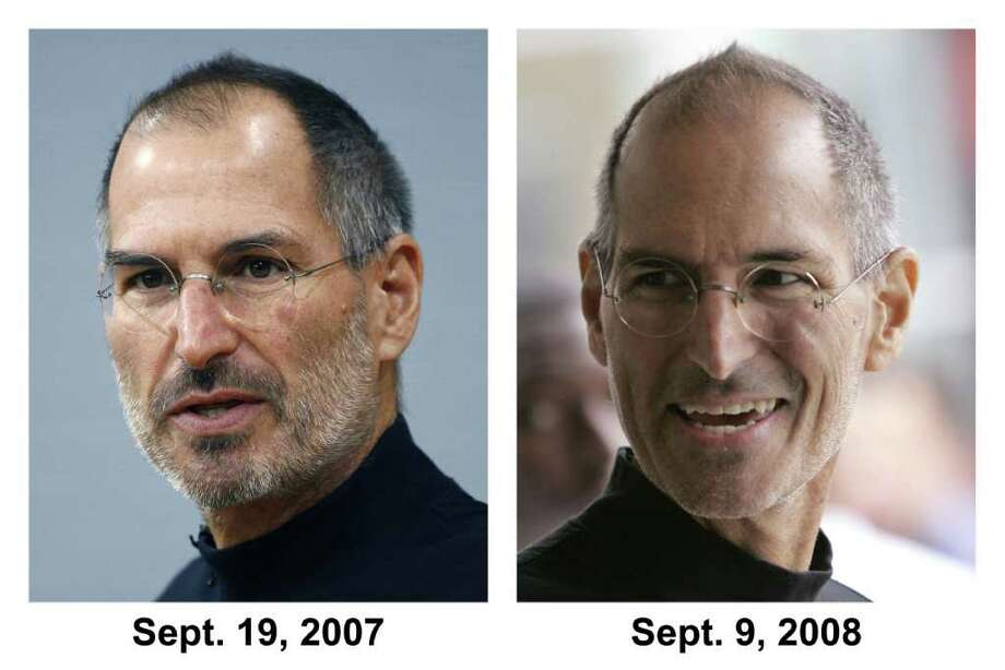 In this photo combo, Apple Inc. founder and Chief Executive Steve Jobs is seen on Sept. 17, 2007 in Berlin, Germany, left, and on Sept. 9, 2008 in San Francisco, right. Jobs, looking to end health rumors, on Monday, Jan. 5, 2009 said that a hormone imbalance is to blame for the weight loss that has prompted worries about his health. Photo: AP