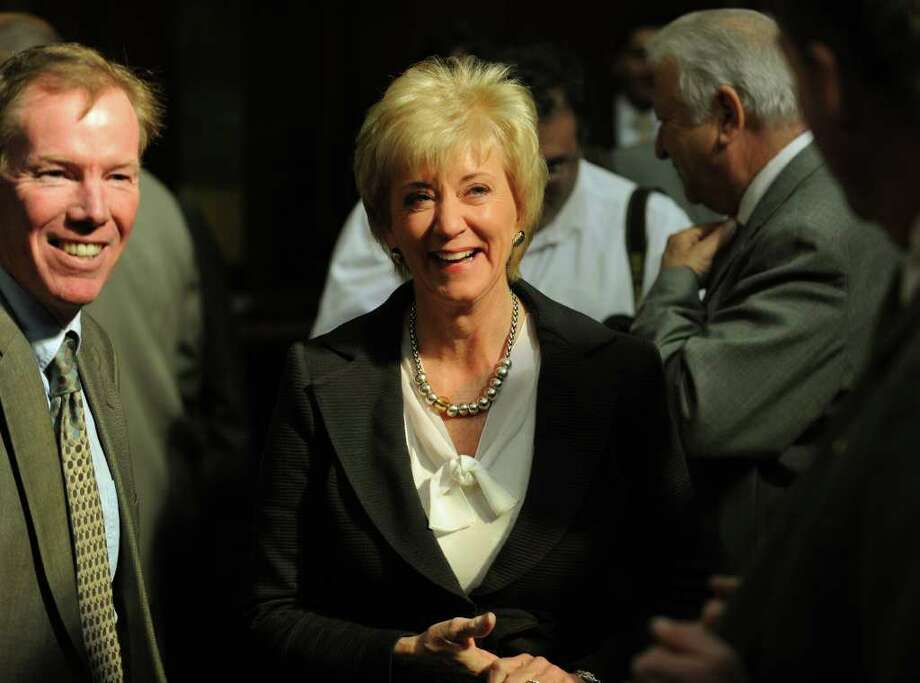 Former senate candidate Linda McMahon attends Governor Dannel P. Malloy's budget address to a joint session of the General Assembly in Hartford on Wednesday, February 16, 2011. Photo by Brian A. Pounds 4/19/11 GT photo (cut to McMahon head only) = The Breakup. Weicker to leave WWE board of directors. by Neil Vigdor Photo: Brian A. Pounds, ST / Connecticut Post