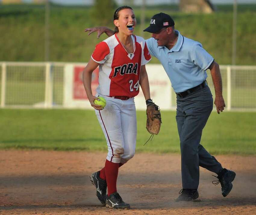 Foran shortstop Brooke Phelan cheers after she and her teammates turned a second inning double play in their Class L semifinal game against Darien at DeLuca Field in Stratford on Monday, June 6, 2011. Foran won the game 4-1.