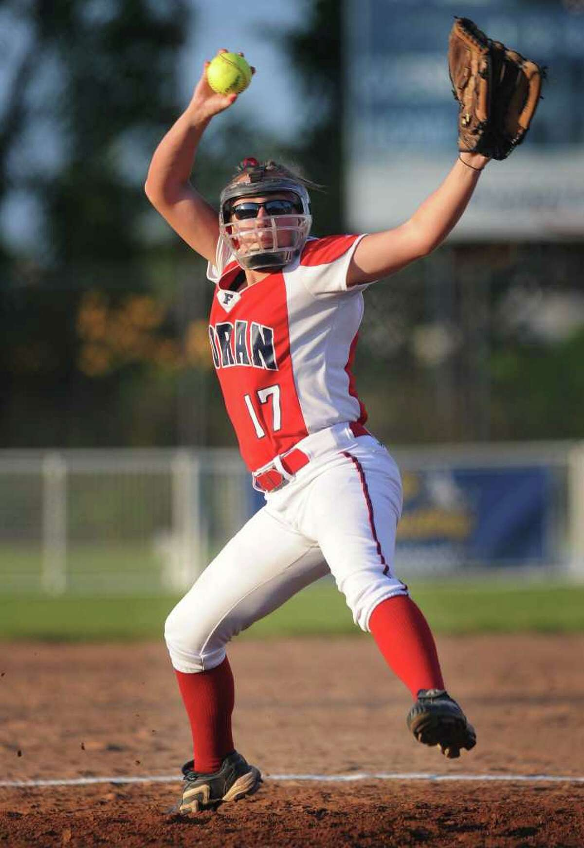 Foran pitcher Taylor Harkness delivers to the plate in the Lions' Class L semifinal game against Darien at DeLuca Field in Stratford on Monday, June 6, 2011. Foran won the game 4-1.