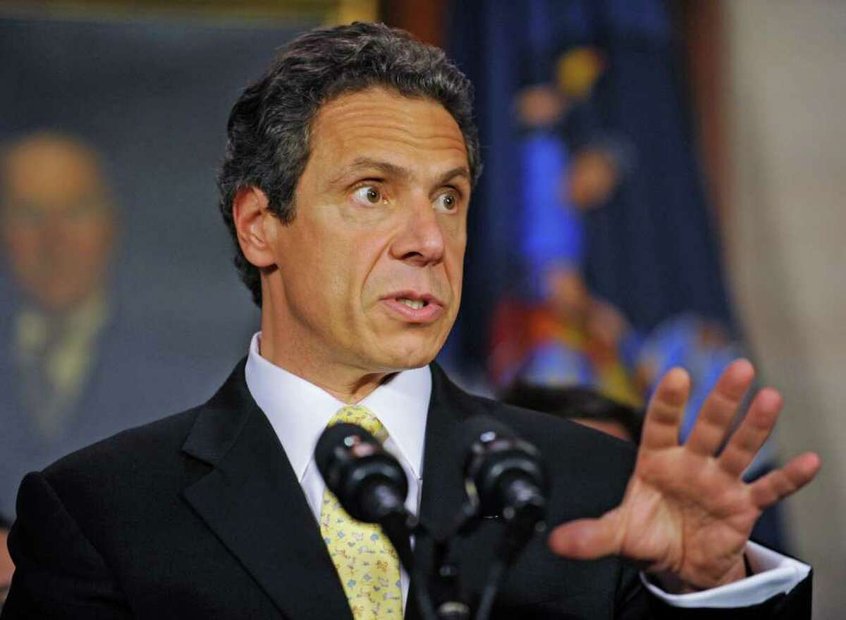 Governor Andrew Cuomo talks about an ethics deal during a press conference at the Capitol in Albany, N.Y. Monday June 6, 2011. (Lori Van Buren / Times Union)