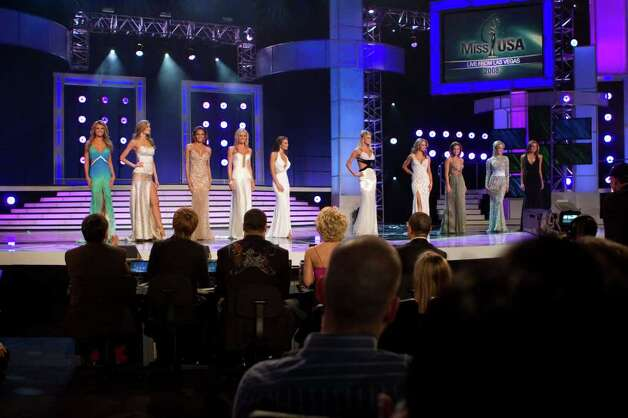 The 10 MISS USA 2008 semi-finalists competing for the title of MISS USA 2008 pose together in their Syrup swimsuits and Nina footwear during the LIVE NBC broadcast of the 57th annual MISS USA competition from the Planet Hollywood Resort and Casino Theatre for the Performing Arts, in Las Vegas, Nevada on April 11th, 2008. From left:Jessica Rafalowski, Miss Florida USA 2008; Brittany Mason, Miss Indiana USA 2008; Crystle Stewart, Miss Texas USA 2008; Hailey Laine Brown, Miss Tennessee USA 2008; Leah Laviano, Miss Mississippi USA 2008; Lindsey Jo Harrington, Miss Oklahoma USA 2008; LauRen Merola, Miss Pennsylvania USA 2008; Tiffany Andrade, Miss New Jersey USA 2008; Candice Crawford, Miss Missouri USA 2008; and Jackie Bruno, Miss Massachusetts USA 2008. ho/MISS Universe L.P., LLLP Photo: Richard Salyer, HO / MISS UNIVERSE L.P., LLLP