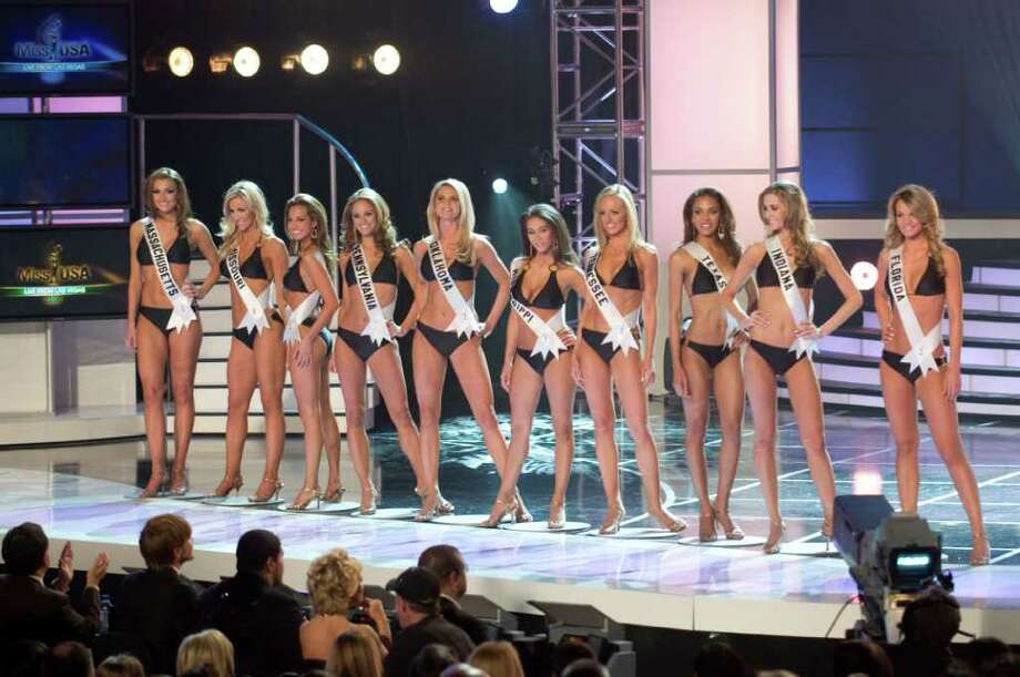The 10 MISS USA 2008 semi-finalists competing for the title of MISS USA 2008 pose together in their Syrup swimsuits and Nina footwear during the LIVE NBC broadcast of the 57th annual MISS USA competition from the Planet Hollywood Resort and Casino Theatre for the Performing Arts, in Las Vegas, Nevada on April 11th, 2008. From left: Jackie Bruno, Miss Massachusetts USA 2008; Candice Crawford, Miss Missouri USA 2008; Tiffany Andrade, Miss New Jersey USA 2008; LauRen Merola, Miss Pennsylvania USA 2008; Lindsey Jo Harrington, Miss Oklahoma USA 2008; Leah Laviano, Miss Mississippi USA 2008; Hailey Laine Brown, Miss Tennessee USA 2008; Crystle Stewart, Miss Texas USA 2008; Brittany Mason, Miss Indiana USA 2008; and Jessica Rafalowski, Miss Florida USA 2008. ho/MISS Universe L.P., LLLP Photo: TIM HARBAUGH, HO / MISS UNIVERSE L.P., LLLP