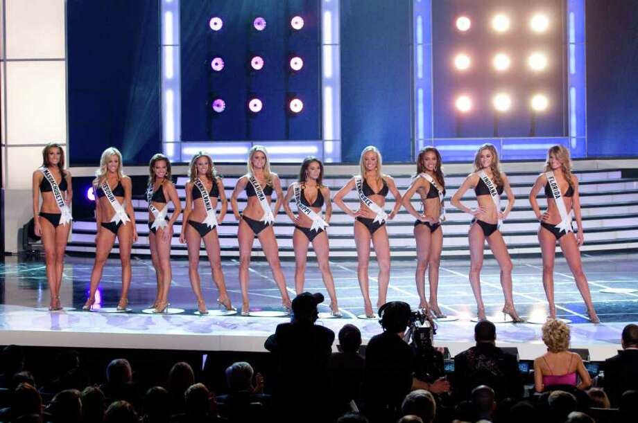 The 10 MISS USA 2008 semi-finalists competing for the title of MISS USA 2008 pose together in their Syrup swimsuits and Nina footwear during the LIVE NBC broadcast of the 57th annual MISS USA competition from the Planet Hollywood Resort and Casino Theatre for the Performing Arts, in Las Vegas, Nevada on April 11th, 2008. From left:Jackie Bruno, Miss Massachusetts USA 2008; Candice Crawford, Miss Missouri USA 2008; Tiffany Andrade, Miss New Jersey USA 2008; LauRen Merola, Miss Pennsylvania USA 2008; Lindsey Jo Harrington, Miss Oklahoma USA 2008; Leah Laviano, Miss Mississippi USA 2008; Hailey Laine Brown, Miss Tennessee USA 2008; Crystle Stewart, Miss Texas USA 2008; Brittany Mason, Miss Indiana USA 2008; and Jessica Rafalowski, Miss Florida USA 2008. ho/MISS Universe L.P., LLLP Photo: Darren Decker , HO / Miss Universe LP, LLLP