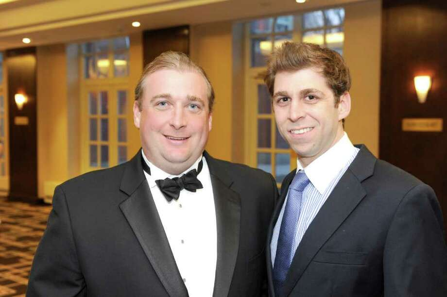 Among the guests at the recent Eagle Hill School 2011 benefit were Alumni Association President Drew Saunders ('88) and James Machinist ('96). Photo: Contributed Photo / Greenwich Citizen