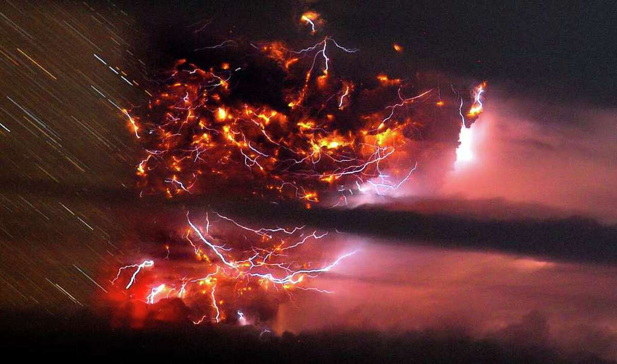 Volcanic lightning is seen over the Puyehue volcano, over 500 miles south of Santiago, Chile, on Sunday, (AP Photo/Francisco Negroni, AgenciaUno)