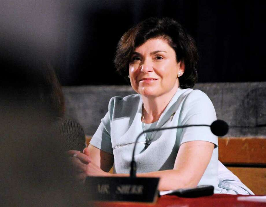 Greenwich Board of Education member Marianna Ponns Cohen during a Board of Education meeting at Greenwich High School, May 26, 2011. Photo: File Photo / Greenwich Time File Photo