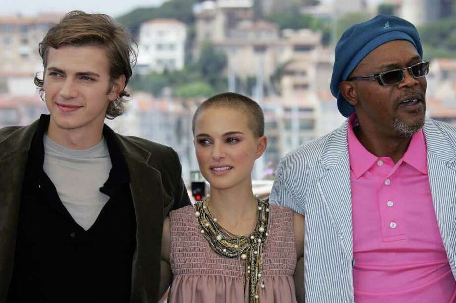 Portman, Hayden Christensen (left) and Samuel L. Jackson pose during the photo call for 'Star Wars: Revenge of the Sith,' on May 15, 2005 at the 58th edition of the Cannes International Film Festival. Photo: GERARD JULIEN, AFP/Getty Images / 2005 AFP