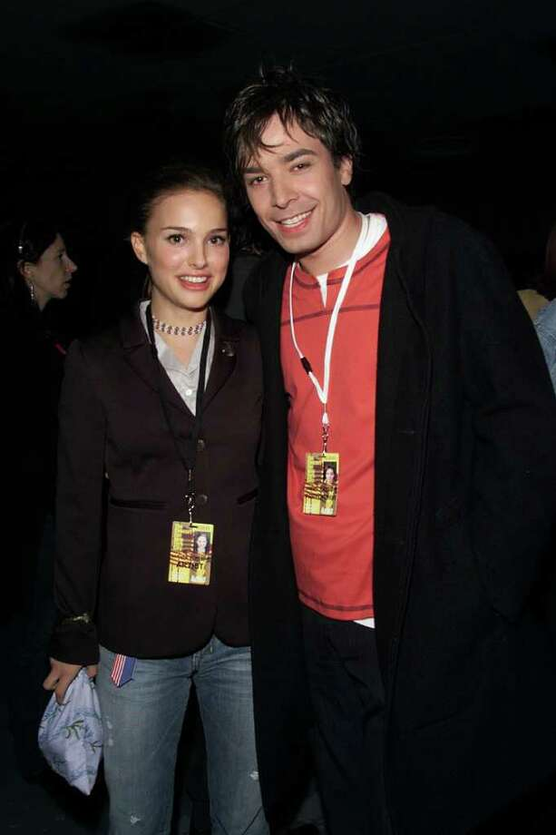 Portman and Jimmy Fallon backstage at The Concert for New York City to benefit the victims of the World Trade Center disaster at Madison Square Garden in New York on October 20, 2001. Photo: Frank Micelotta, Getty Images / Getty Images North America
