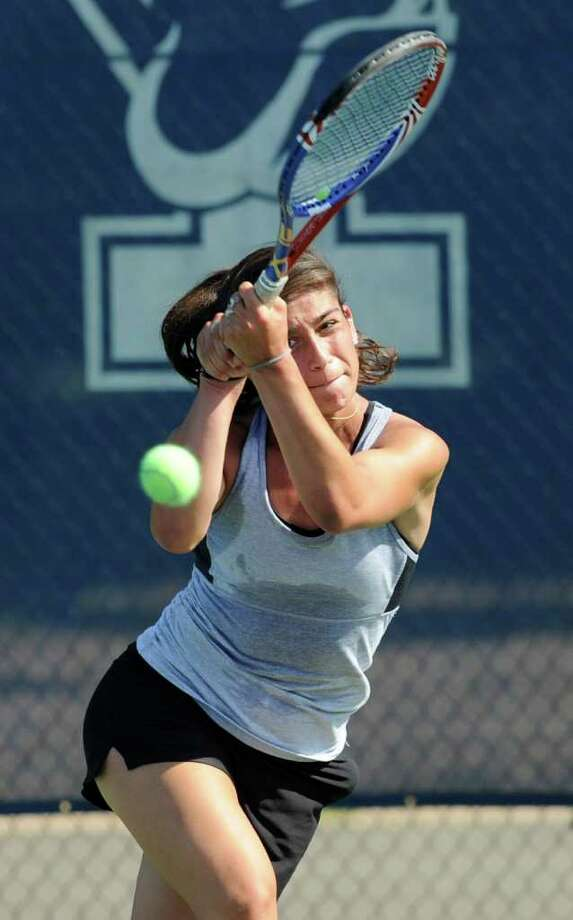 Jenn DeLuca of Greenwich High School during match against Hannah Dahlem of Avon in State Open Tennis at Yale University, New Haven, Tuesday afternoon, June 7, 2011. Photo: Bob Luckey / Greenwich Time