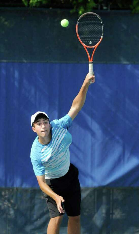 Dan Adajian of Fairfield Ludlowe High School serves during State Open Tennis Semifinals at Yale University, New Haven, Tuesday afternoon, June 7, 2011. Photo: Bob Luckey / Greenwich Time