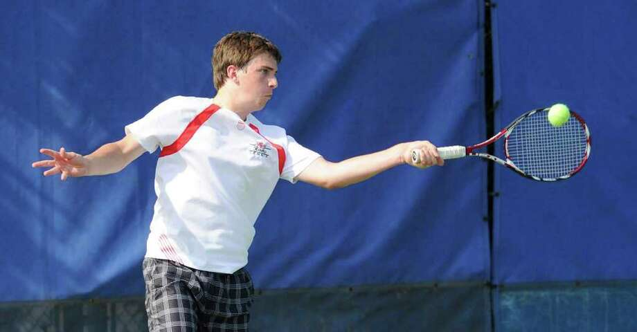 Jacob Reiss of New Canaan High School during doubles action in State Open Tennis Semifinals at Yale University, New Haven, Tuesday afternoon, June 7, 2011. Photo: Bob Luckey / Greenwich Time
