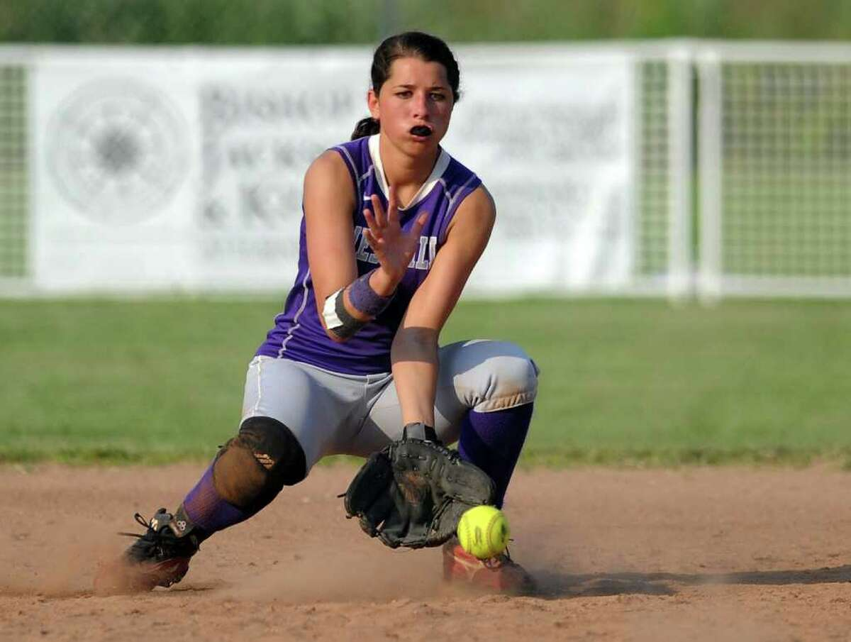 Westhill's Brittany Horn makes a catch during Tuesday's class LL semifinal game against Bristol Central at DeLuca Field in Stratford on June 7, 2011.