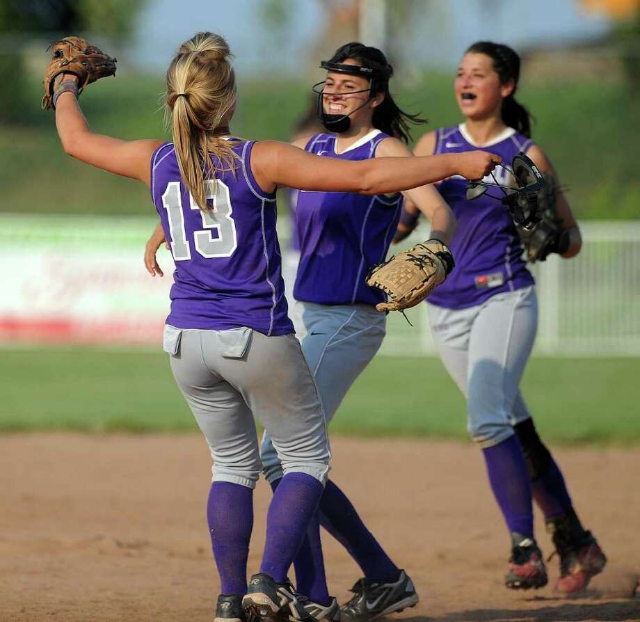 Westhill celebrates their win after Tuesday's class LL semifinal game against Bristol Central at DeLuca Field in Stratford on June 7, 2011. Photo: Lindsay Niegelberg / Connecticut Post