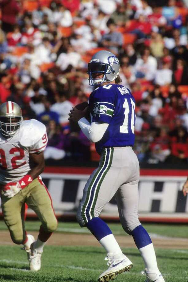 Dan McGwire -  A draft bust to rule them all, the 6-foot-8 McGwire was the first quarterback selected (16th overall) in the 1991 draft - a lesser known QB by the name of Brett Favre slipped to the 2nd round that year - and started all of three games for the Seahawks during his 4-year stint with the team. He totalled just 578 yards and a touchdown during his final season before going to Miami. A year later he was out of football. Photo: George Rose, Getty Images / 1992 Getty Images