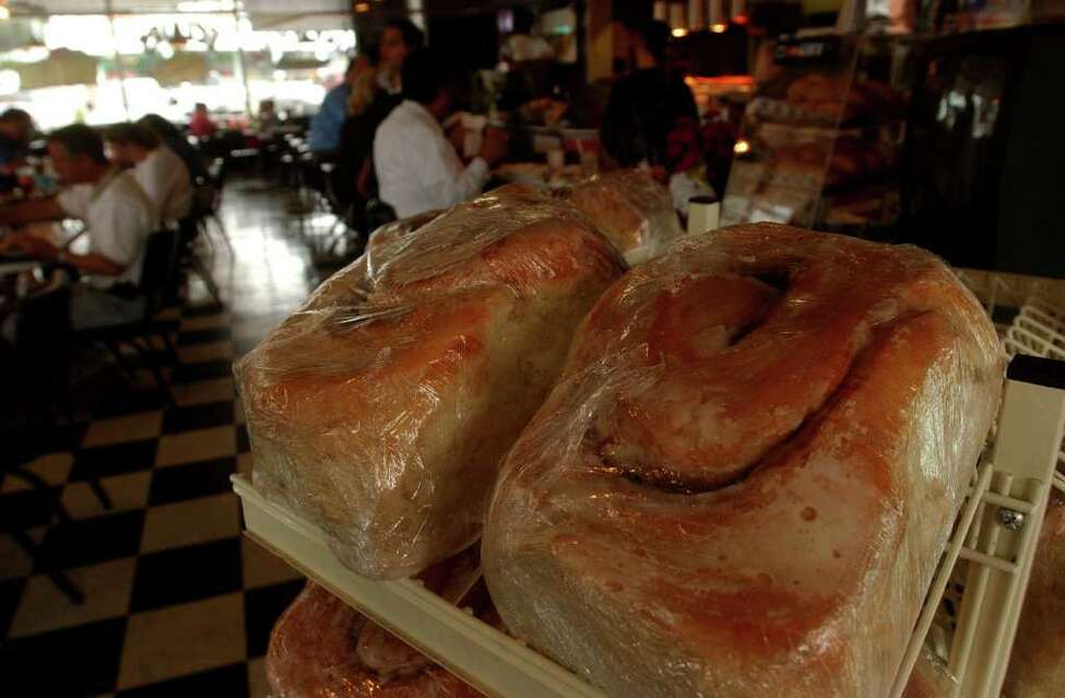 Three-pound cinnamon rolls wait for buyers at Lulu's Bakery and Cafe in San Antonio, Texas.