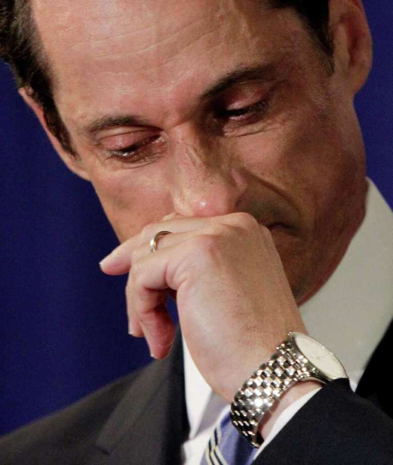 "A teary U.S. Rep. Anthony Weiner, D-N.Y., addresses a news conference in New York,  Monday, June 6, 2011. After days of denials, a choked-up New York Democratic Rep. Anthony Weiner confessed Monday that he tweeted a bulging-underpants photo of himself to a young woman and admitted to ""inappropriate"" exchanges with six women before and after getting married. Photo: Richard Drew, AP / AP"