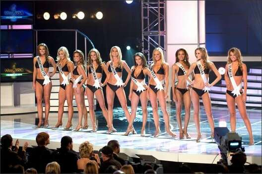 The 15 semifinalists were cut to 10 after a swimsuit competition. From left, Jackie Bruno, Miss Massachusetts USA 2008; Candice  Crawford, Miss Missouri USA 2008; Tiffany Andrade, Miss New Jersey USA 2008; LauRen Merola, Miss Pennsylvania USA 2008; Lindsey   Jo Harrington, Miss Oklahoma USA 2008; Leah Laviano, Miss Mississippi USA 2008; Hailey Laine Brown, Miss Tennessee USA 2008;   Crystle Stewart, Miss Texas USA 2008; Brittany Mason, Miss Indiana USA 2008; and Jessica Rafalowski, Miss Florida USA 2008.  Photo: Miss Universe L.P., LLLP / Miss Universe L.P., LLLP Photo: Miss Universe L.P., LLLP