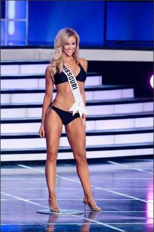 Candice Crawford, Miss Missouri USA 2008, competes in her Syrup Swimwear swimsuit as one of the 15 semifinalists. Photo: Miss 