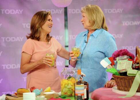 "In this photo provided by NBC, ""Today"" show co-host Meredith Vieira, left, does her last cooking segment with Martha Stewart on the ""Today"" show, Tuesday, June 7, 2011 in New York. Vieira's last day on the show is Wednesday. Photo: AP"