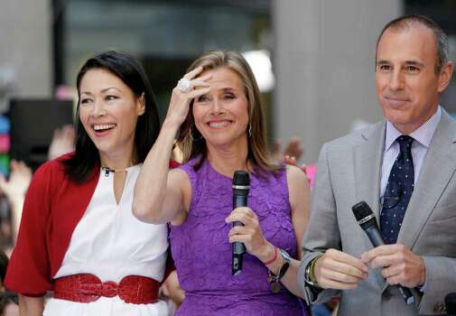 "Ann Curry, left, Meredith Vieira and Matt Lauer appear during a segment of the NBC ""Today"" television program, in New York's Rockefeller Center,  Friday, May 27, 2011. Curry is to replace Vieira as co-host of the program June 8, 2011. Photo: AP"