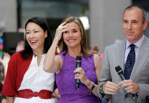 """Ann Curry, left, Meredith Vieira and Matt Lauer appear during a segment of the NBC """"Today"""" television program, in New York's Rockefeller Center,  Friday, May 27, 2011. Curry is to replace Vieira as co-host of the program June 8, 2011. Photo: AP"""