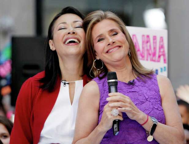 """Ann Curry, left, and Meredith Vieira appear during a segment of the NBC """"Today"""" television program, in New York's Rockefeller Center,  Friday, May 27, 2011. Curry is to replace Vieira as co-host of the program June 8, 2011. Photo: AP"""