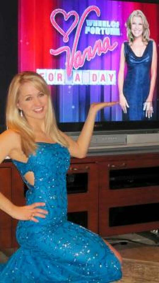 ANNA AS VANNA: Anna Horn of Friendswood was one of five finalists in the Vanna White for a Day contest sponsored by Wheel of Fortune. She was not the winner. Photo: Courtesy Photo
