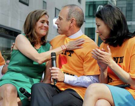 "Meredith Vieira, left, co-host of the NBC ""Today"" television program, embraces her fellow co-host Matt Lauer as her successor Ann Curry looks on, during her final show, in New York, Wednesday, June 8, 2011. Vieira ended her five-year run on Wednesday, telling viewers her decision to go is ""right, but it's hard."" Photo: AP"