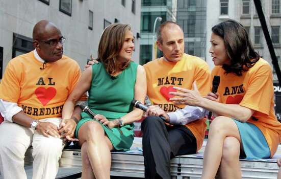 "The cast of the NBC ""Today"" television program, from left: Al Roker, co-hosts Meredith Vieira, and Matt Lauer, and Vieira's successor Ann Curry, get together during a segment of Vieira's last show, in New York Wednesday, June 8, 2011. Vieira, the popular ""Today"" co-anchor ended her five-year run on Wednesday, telling viewers her decision to go is ""right, but it's hard."" Photo: AP"
