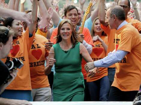 "Meredith Vieira, center, co-host of the NBC ""Today"" television program, participates in a music video segment during her final show, in New York, Wednesday, June 8, 2011. Joining Vieira are her successor Ann Curry, left, Jimmy Fallon, background center, and the shows co-host Matt Lauer, right. The popular ""Today"" co-anchor ended her five-year run on Wednesday, telling viewers her decision to go is ""right, but it's hard."" Photo: AP"