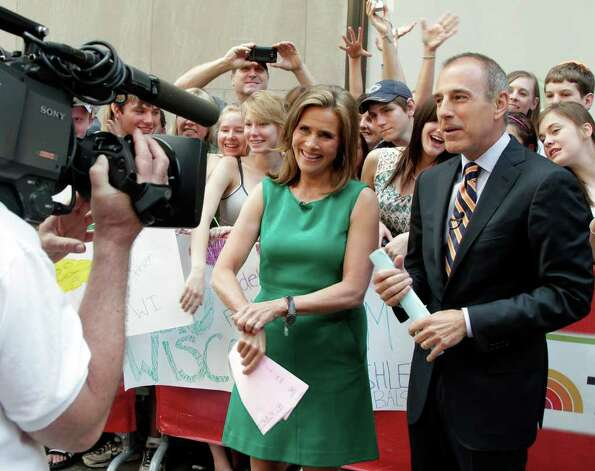 "Meredith Vieira, and her fellow co-host of the NBC ""Today"" television program Matt Lauer, appear during a segment of her final show, in New York, Wednesday, June 8, 2011. The popular ""Today"" co-anchor ended her five-year run on Wednesday, telling viewers her decision to go is ""right, but it's hard."" Photo: AP"