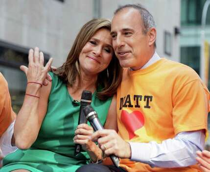 "Meredith Vieira, leans on the shoulder of her fellow co-host Matt Lauer during her final show on the NBC ""Today"" television program, in New York, Wednesday, June 8, 2011. The popular ""Today"" co-anchor ended her five-year run on Wednesday, telling viewers her decision to go is ""right, but it's hard."" Photo: AP"