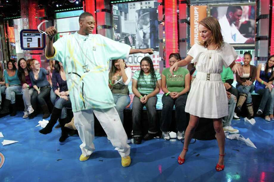 Portman and Soulja Boy appear onstage during MTV's Total Request Live at the MTV Times Square Studios on November 12, 2007 in New York. Photo: Bryan Bedder, Getty Images / 2007 Getty Images