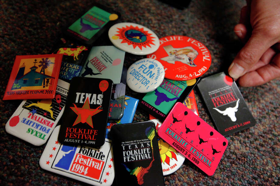 These buttons have been worn by Texas Folklife Festival director Jo Ann Andera during the 40 years of her participation. KIN MAN HUI / EXPRESS-NEWS / San Antonio Express-News