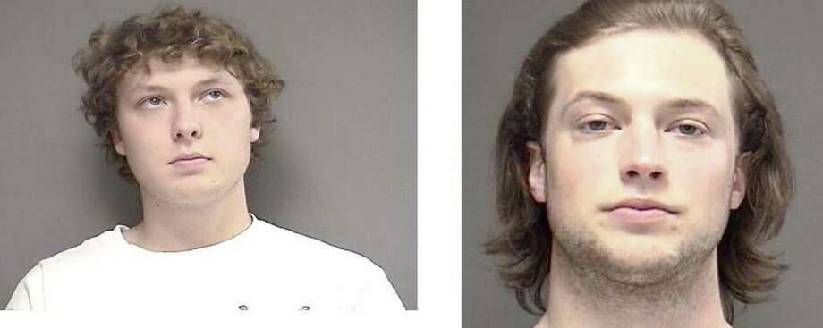 Tyler Curtis (L) and Michael Juterbock (R) were arrested for possession of marijuana, possession of drug paraphernalia and intent to sell. Photo: Contributed Photo / Darien News